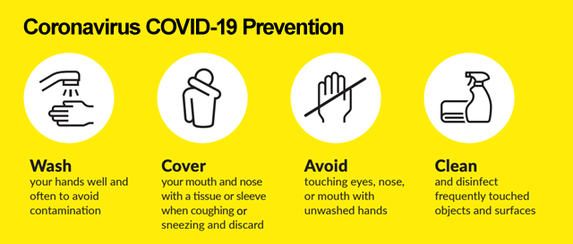 COVID-19 prevention information - wash hands - cover mouth when coughing and sneezing - avoid touching face - clean and disinfect surfaces
